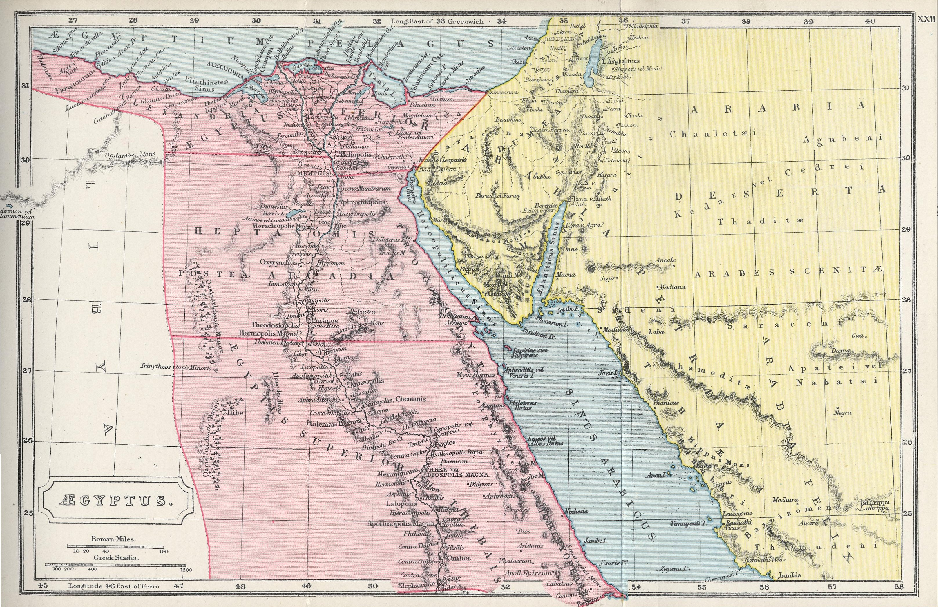 Map of Egypt70 BC - AD 180