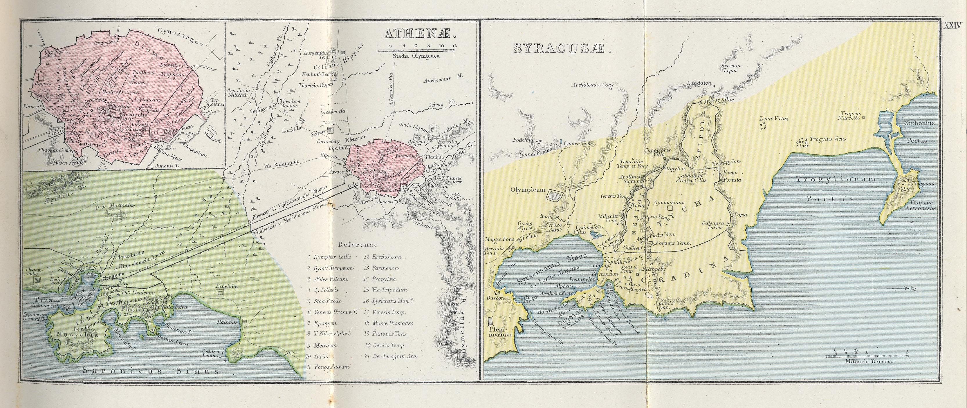 Map of Athens and Syracuse 70 BC - AD 180 with inset of the Athenian Acropolis