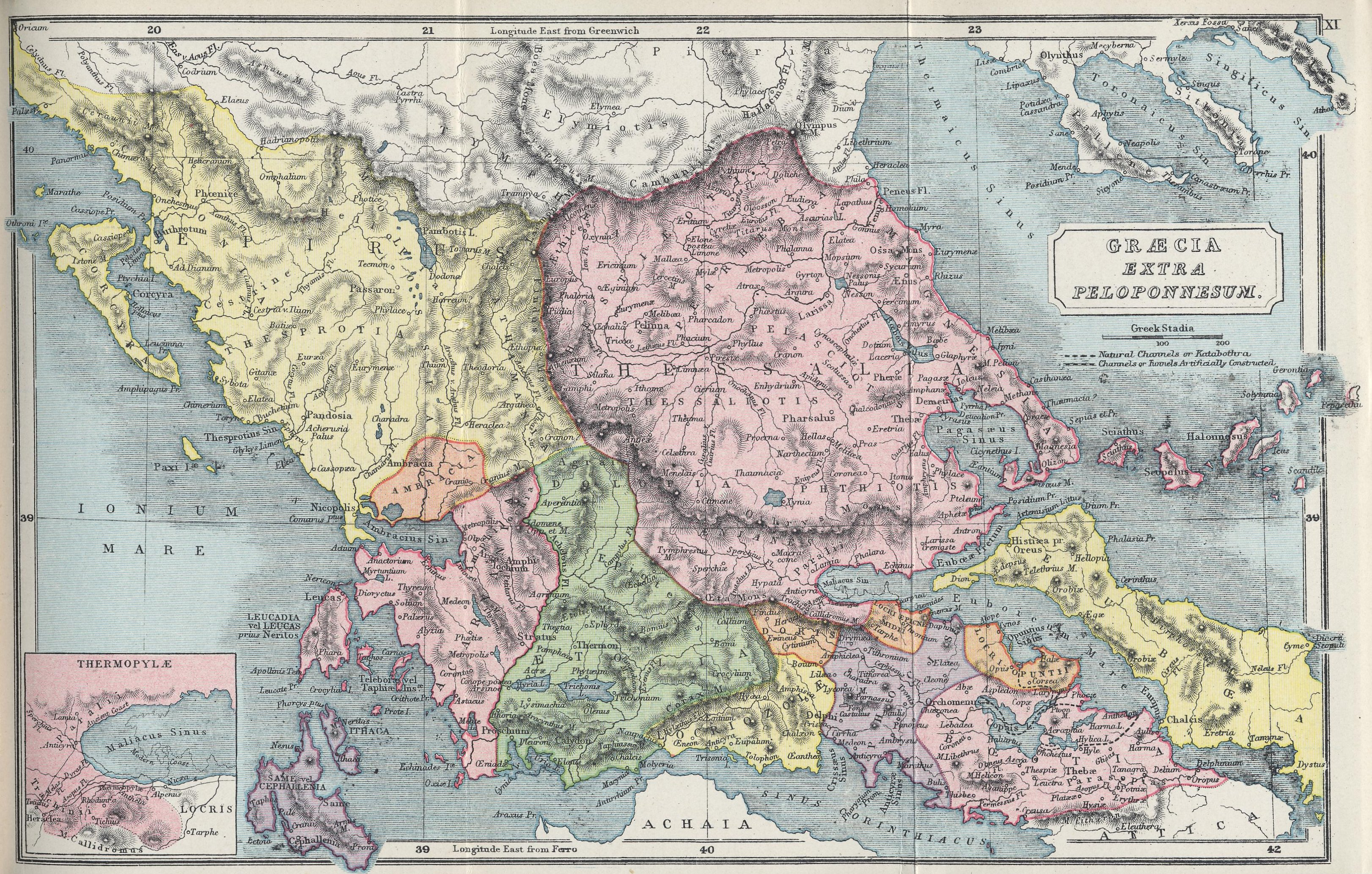 Map of Northern Greece70 BC - AD 180