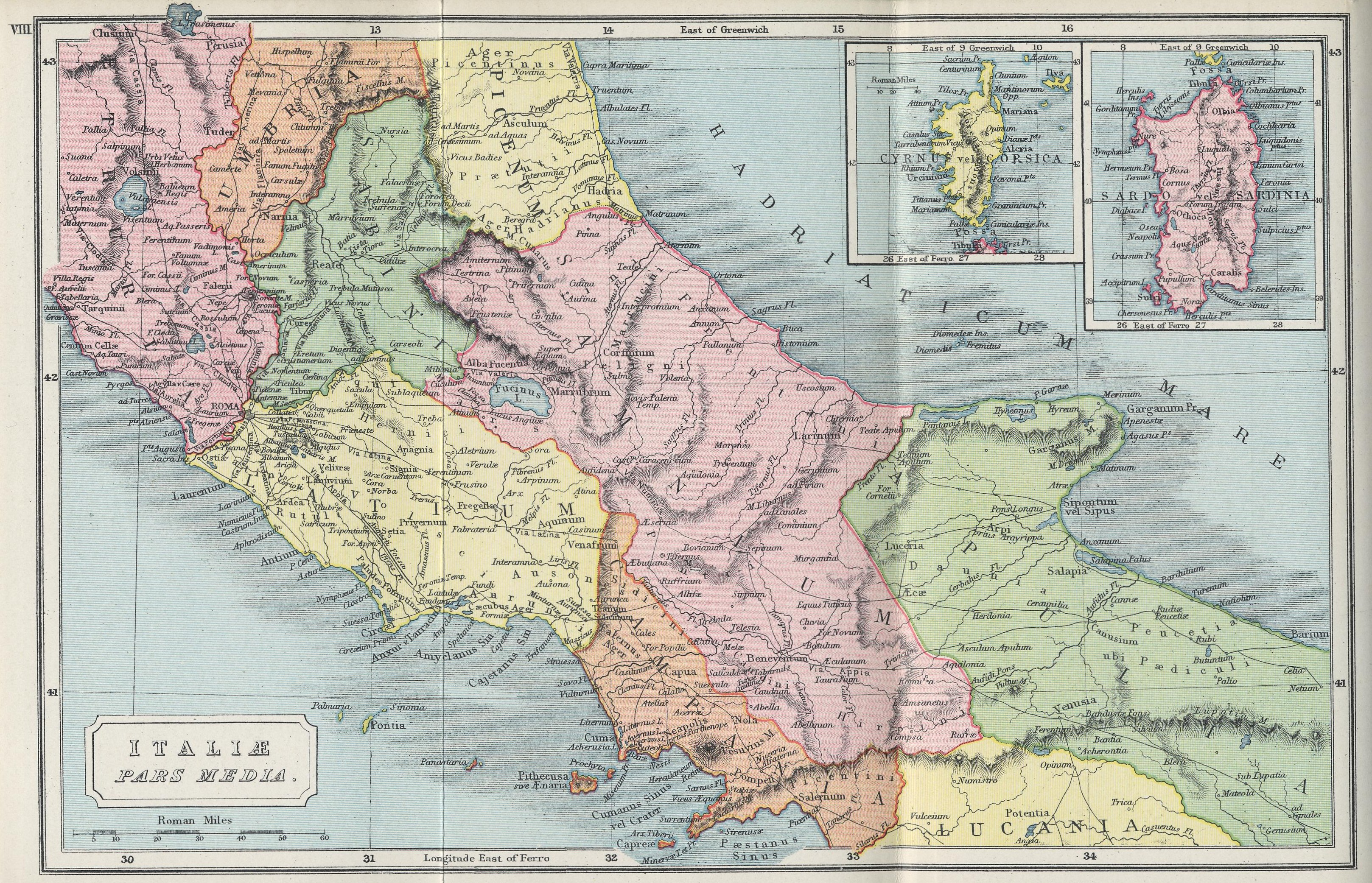 Map of Central Italy 70 BC - AD 180 with insets of Corsica and Sardinia