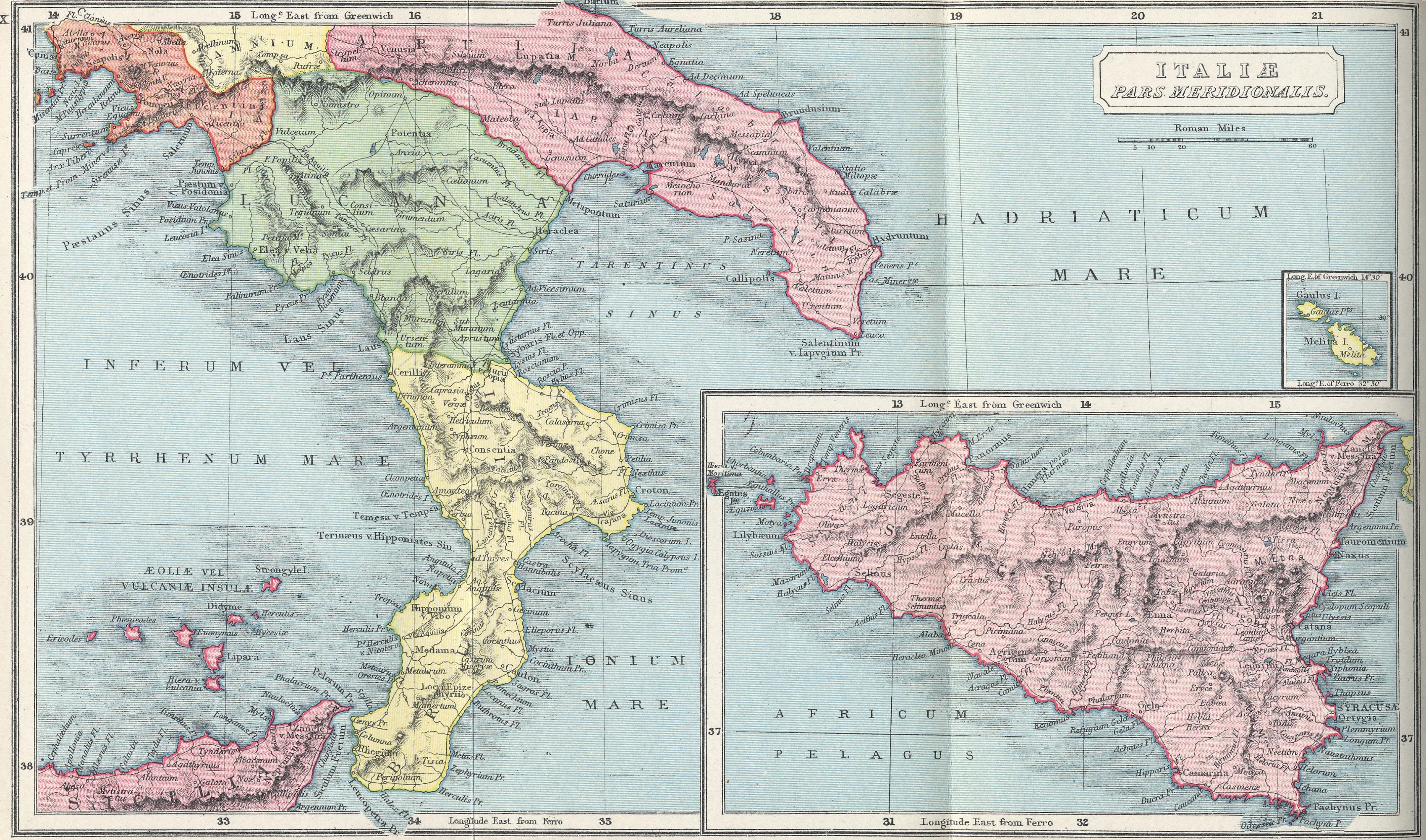 Map of Southern Italy 70 BC - AD 180 with inset of Sicily