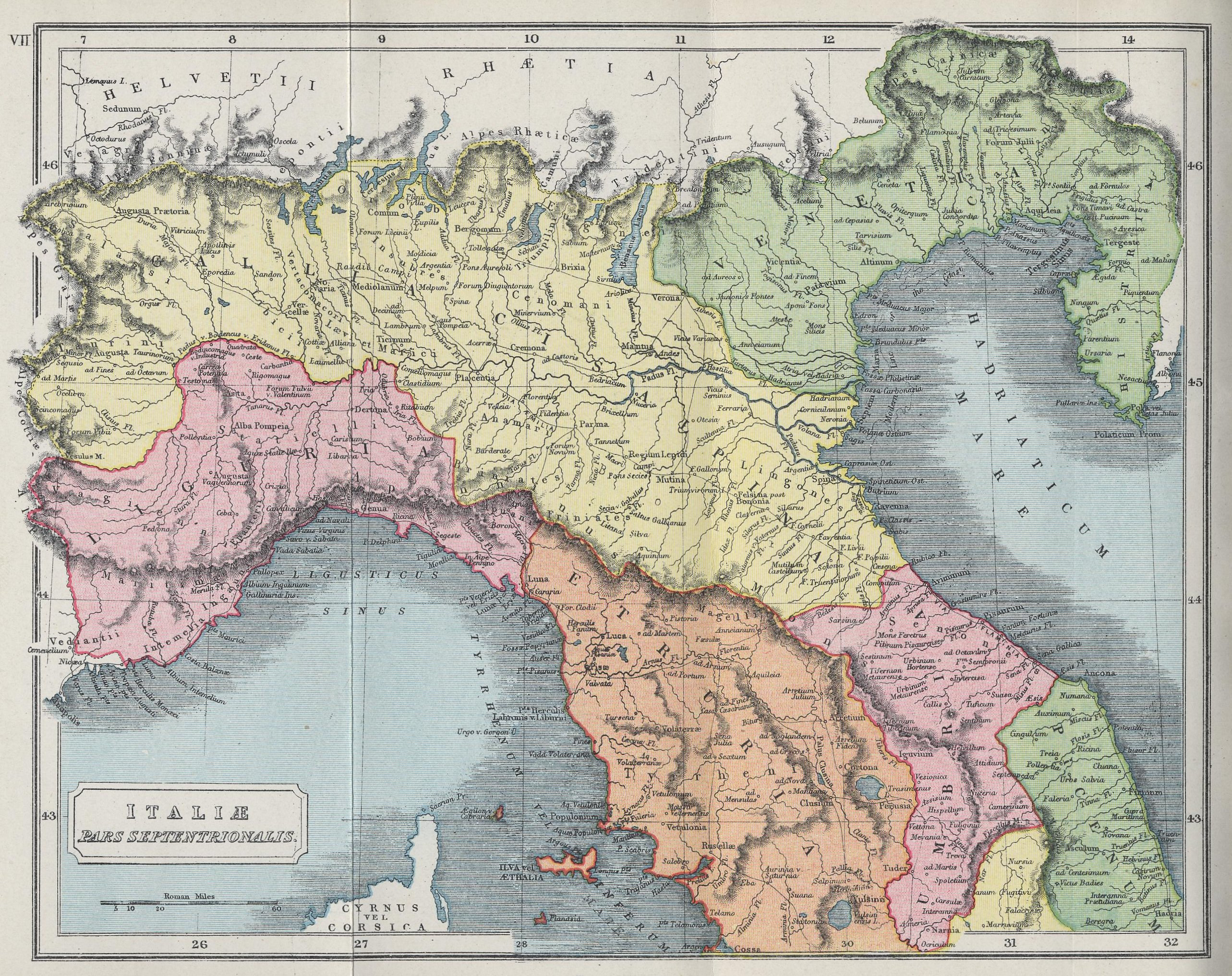 Map of Northern Italy70 BC - AD 180