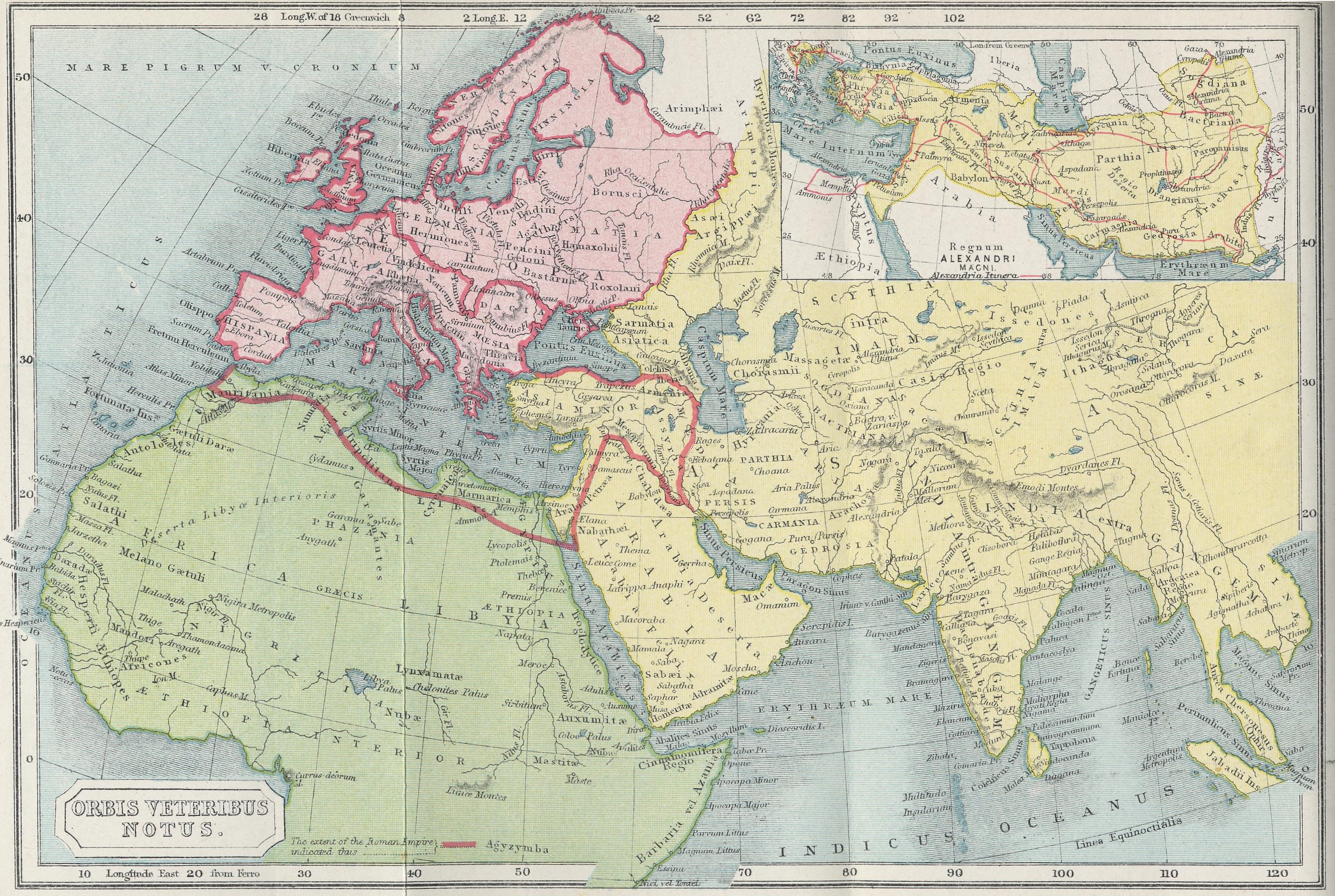 Map of Known Roman World70 BC - AD 180with inset of Alexander's Kingdom 323 BC
