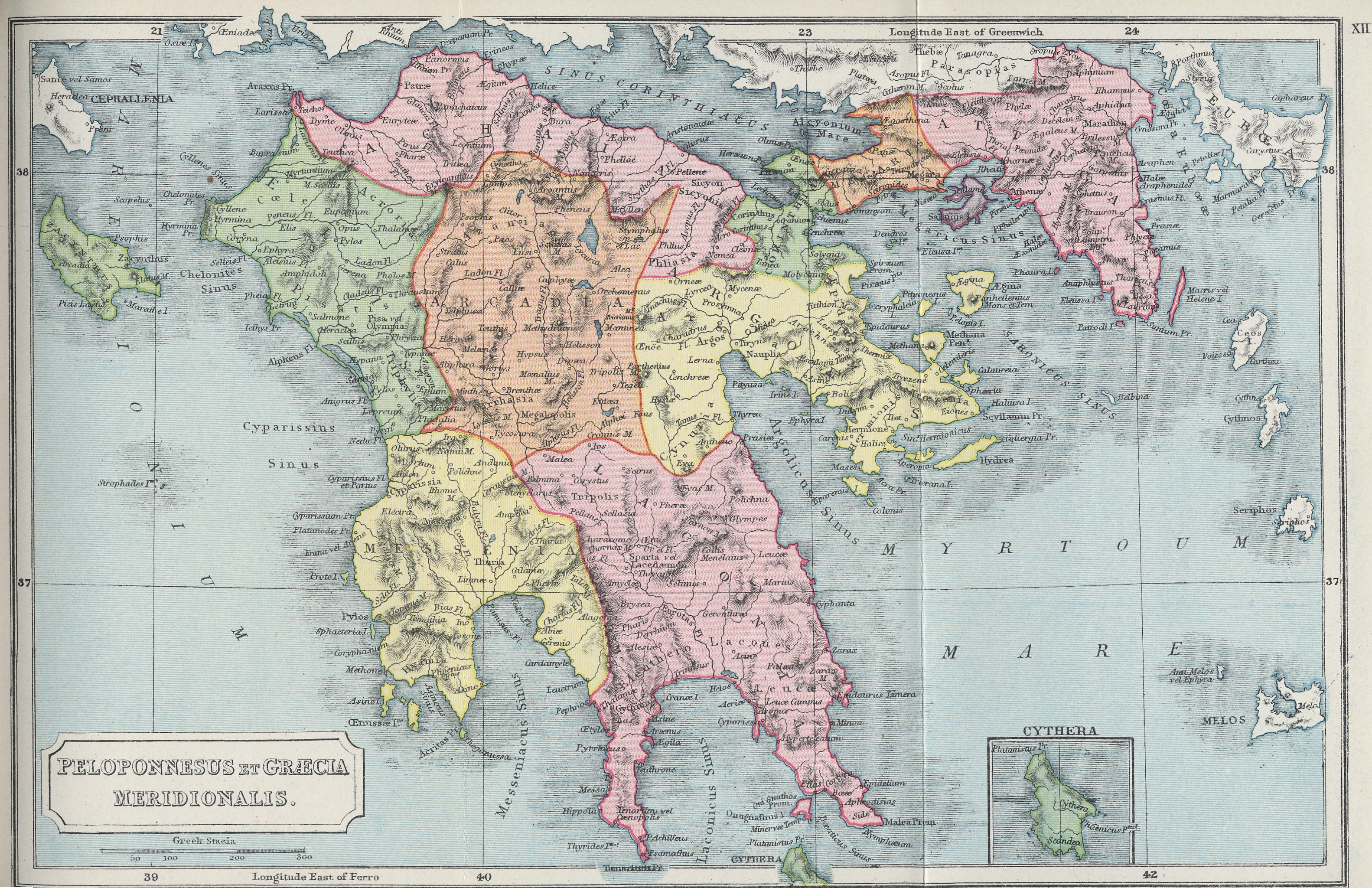 Map of Attica and the Peloponnese 70 BC - AD 180