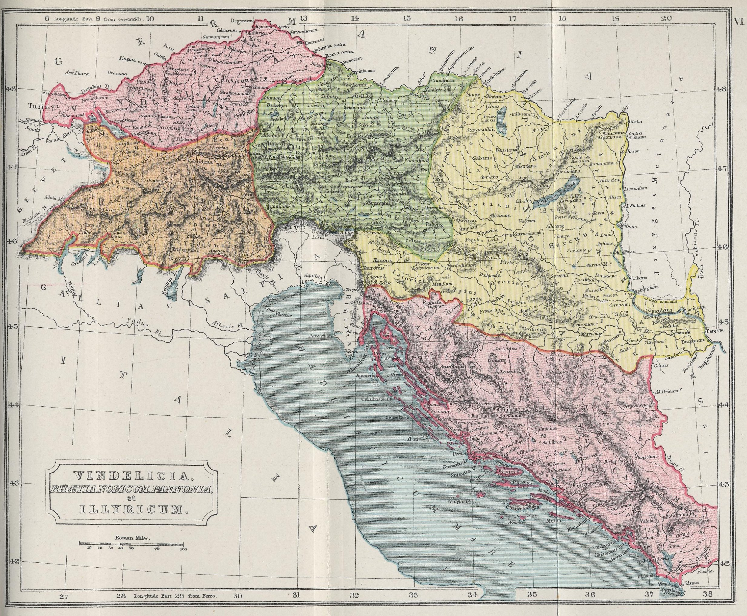 Map of Alpine Region and Western Balkans70 BC - AD 180