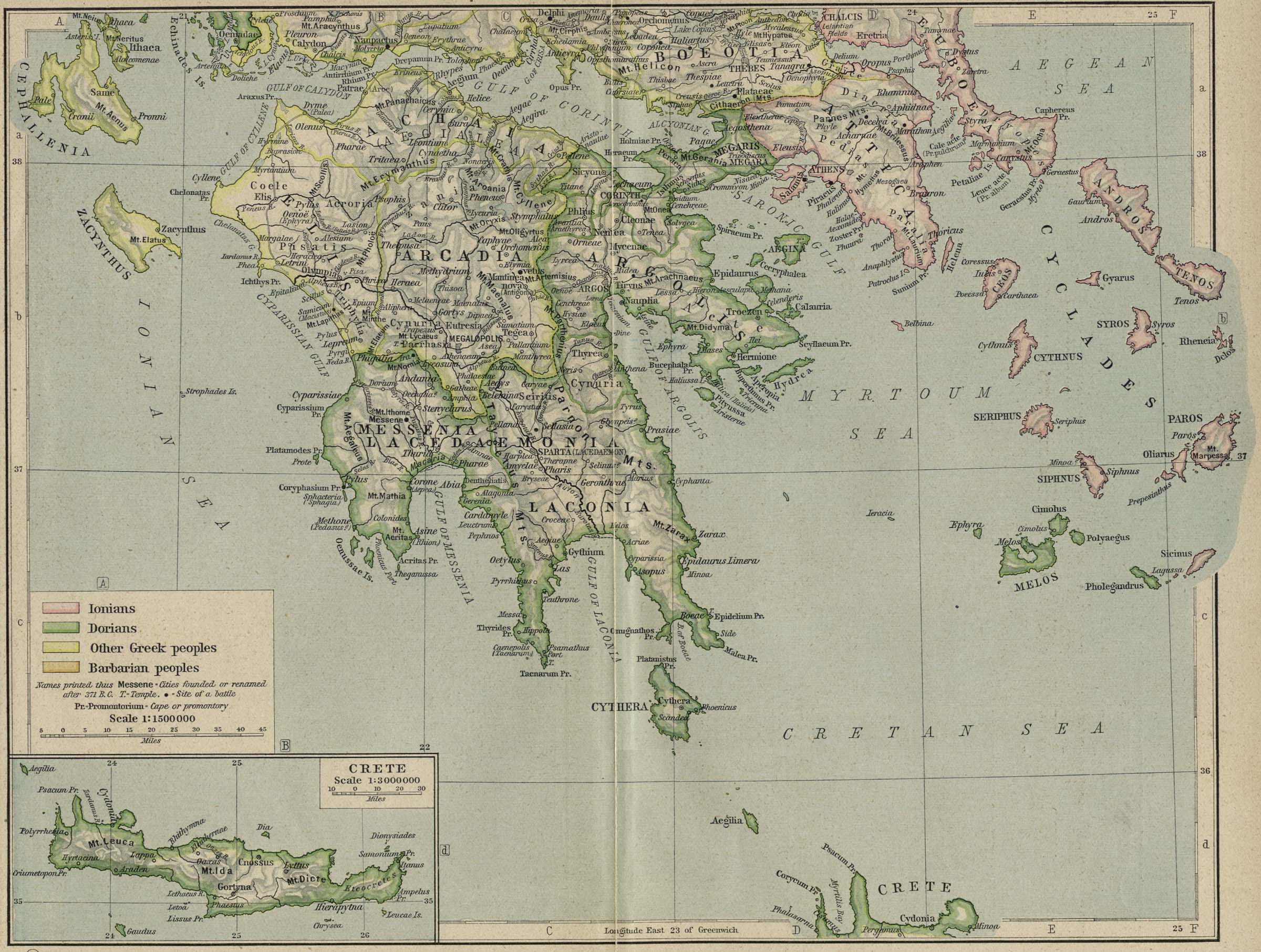 Map of Southern Greece403 BC - AD 180with inset of Crete