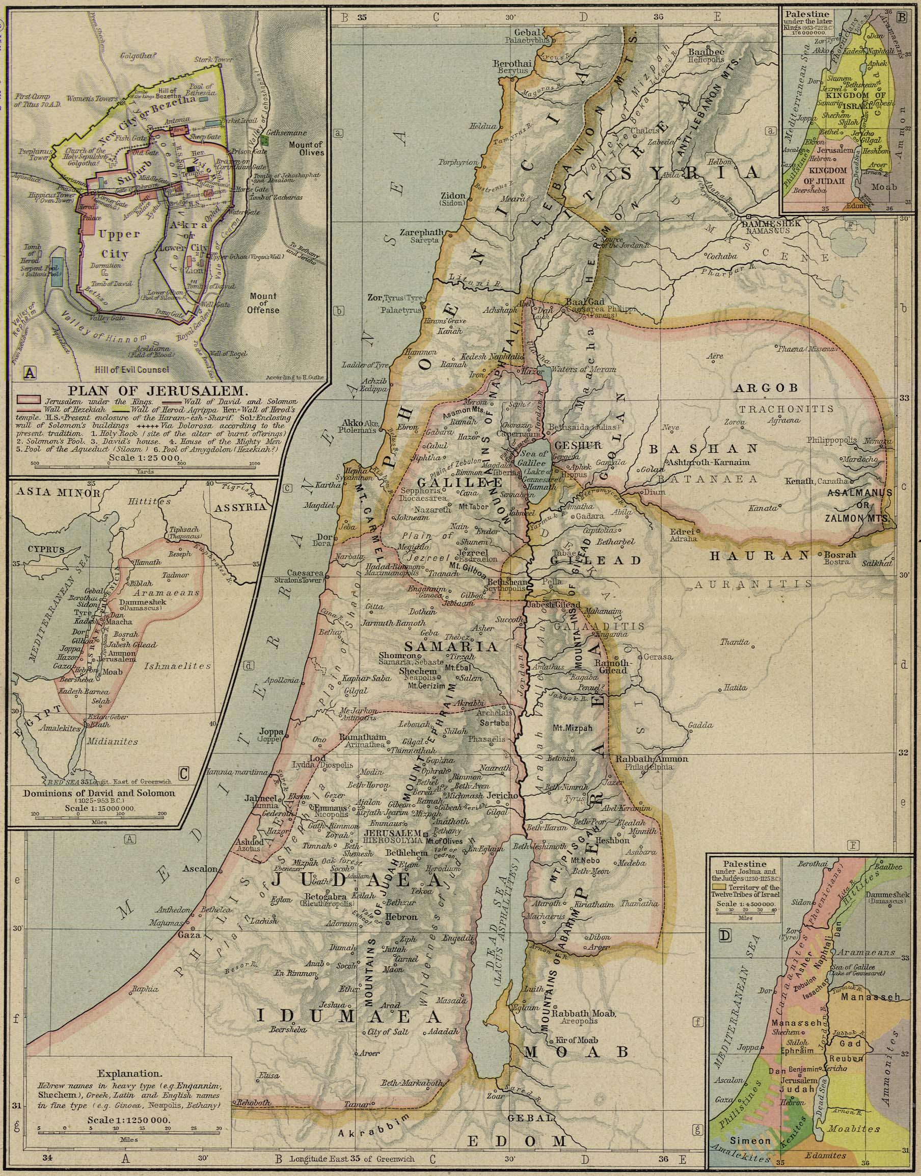 Map of Palestine1250 BC - AD 60with inset of Jerusalem