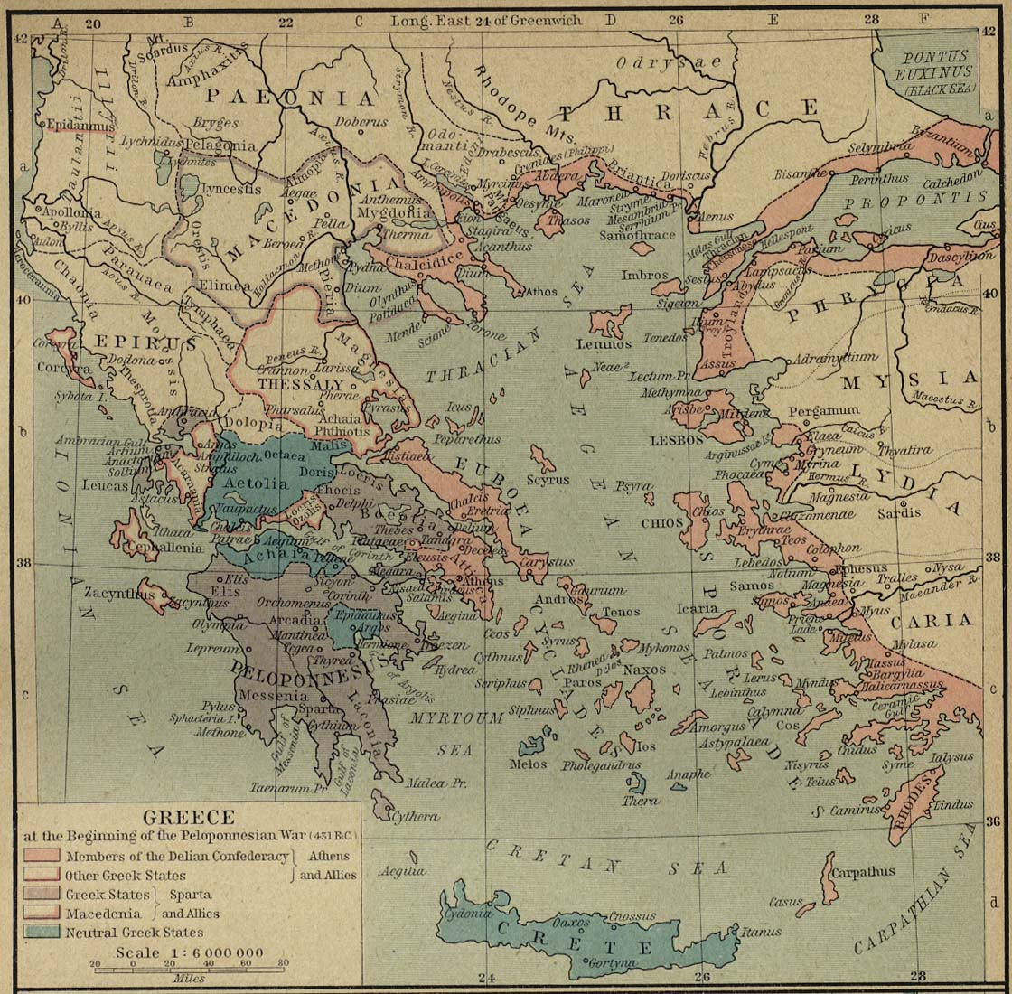 Map of Peloponnesian Warc. 431 BC