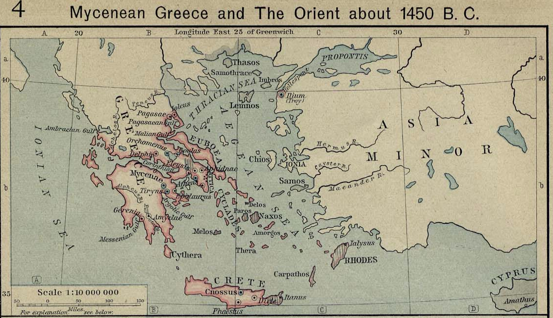 Map of Mycenaean Greecec. 1450 BC