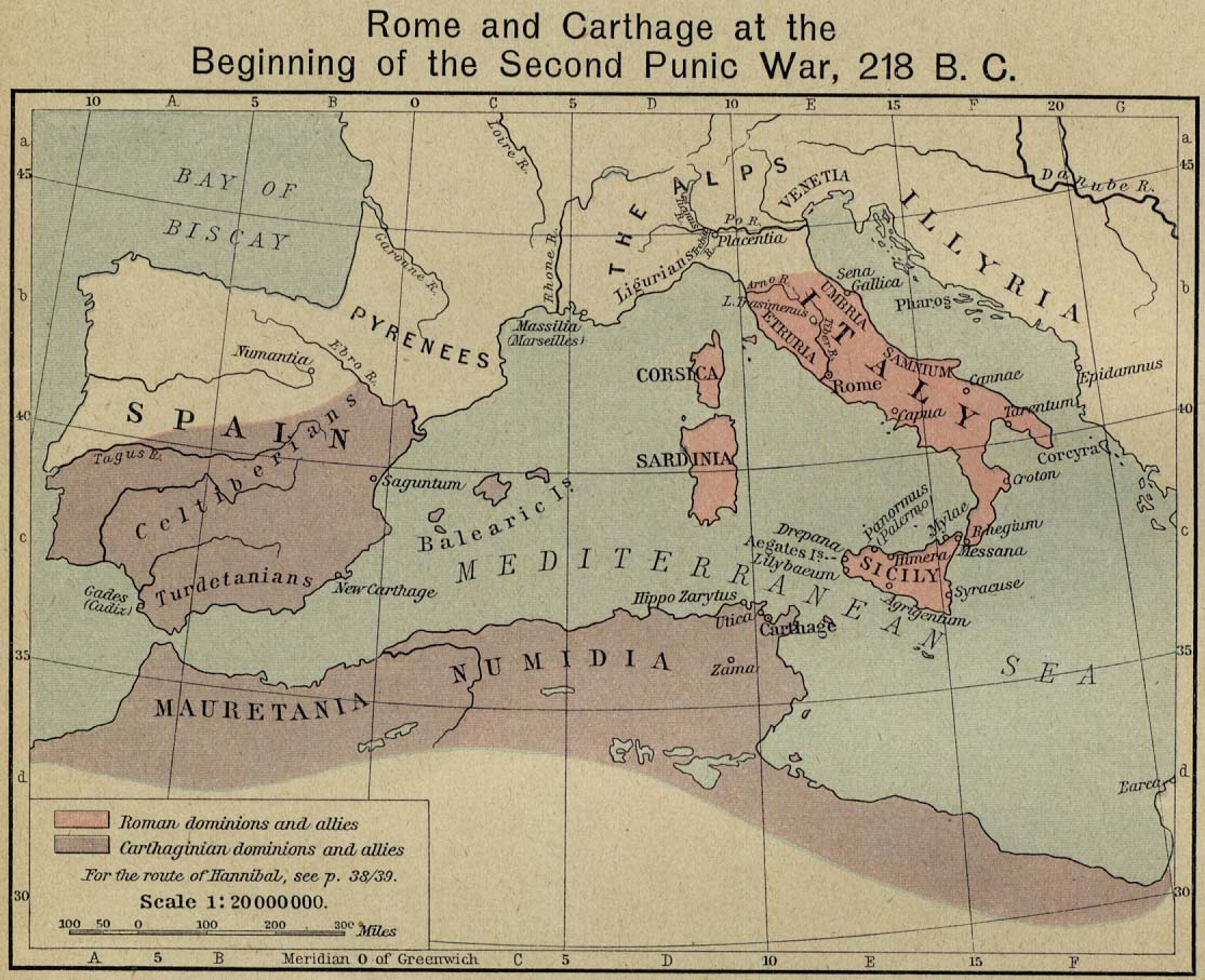 Map of Rome and Carthagec. 218 BC
