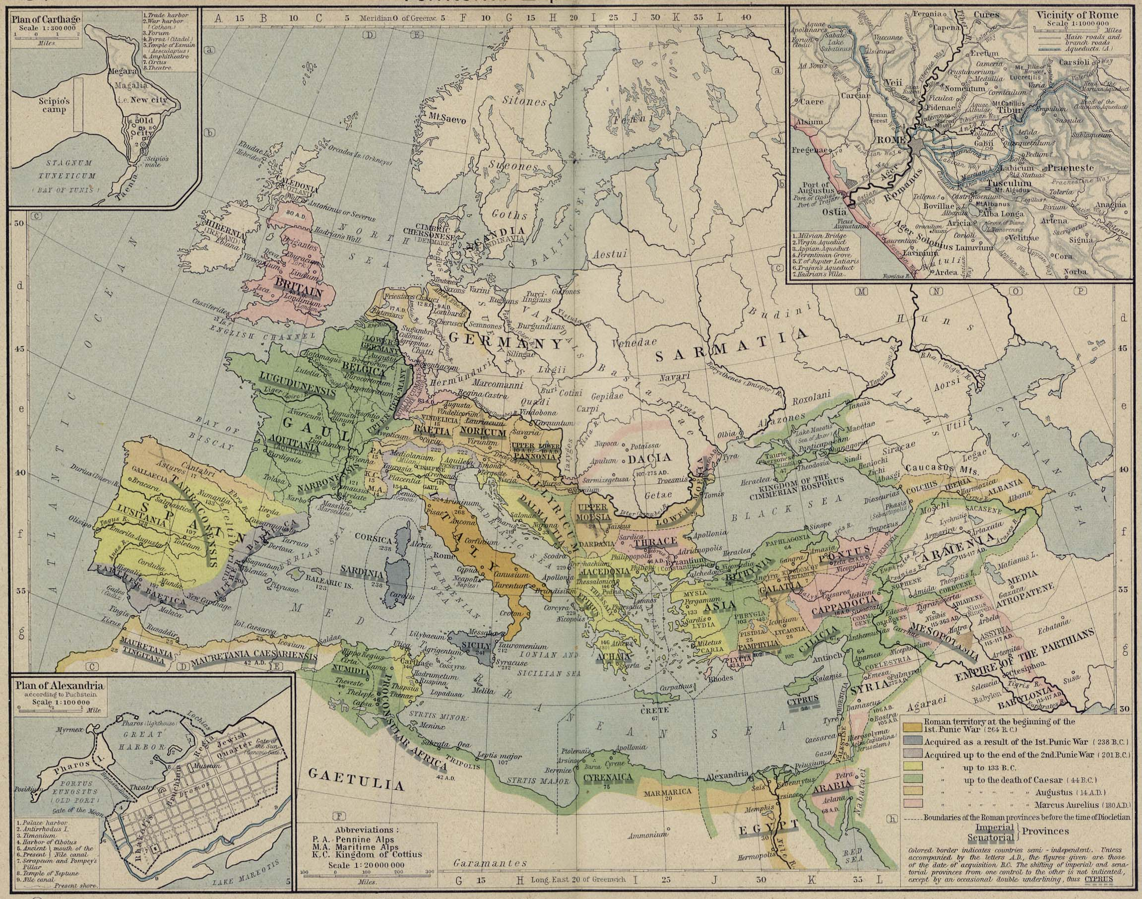 Map of Roman Empire264 BC - AD 180with insets of Alexandria, Carthage, and Rome