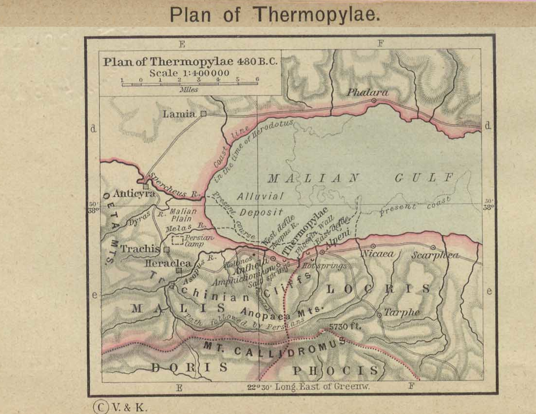 Map of Thermopylaec. 480 BC